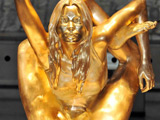 Gold Kate Moss statue goes on show