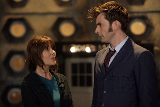 Sarah Jane with Doctor in TARDIS