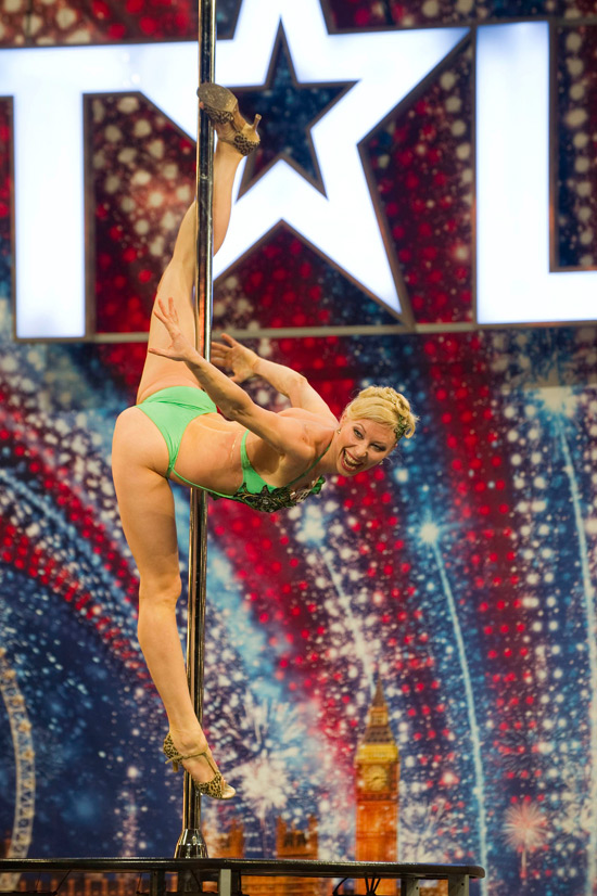 Poledancer Alesia impressed the judges with her flexibility.